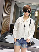 Women's Going out Casual/Daily Simple Street chic Spring Fall Denim Jacket,Solid Square Neck Long Sleeve Short Others