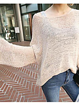 Women's Going out Casual/Daily Regular Cardigan,Solid V Neck Long Sleeve Silk Spring Summer Thin Inelastic