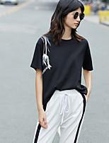Damen Druck Einfach Alltag Normal T-shirt,Rundhalsausschnitt Kurzarm Baumwolle