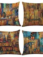 4 штук Лён Натуральный Наволочка Наволочки,Однотонный Текстура Модерн Офисный Традиционный/классический Пляжный стиль