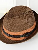 Унисекс Винтаж Очаровательный Для вечеринки Для офиса На каждый день Панама Соломенная шляпа Солома Контрастных цветов