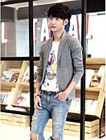 Men's Daily Casual Simple Regular Cardigan,Solid V Neck Long Sleeve Cotton Blend Fall Medium Micro-elastic