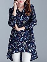 Women's Plus Size Going out Casual/Daily Street chic Loose Dress,Print Shirt Collar Asymmetrical Long Sleeve Cotton Linen Summer Mid Rise