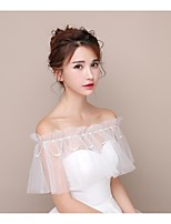 Women's Wrap Capelets Tulle Wedding Party/Evening Beading Pearls