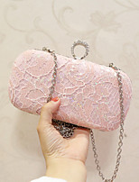Women Evening Bag PU All Seasons Event/Party Party & Evening Club Baguette Lace Sequined Magnetic Blushing Pink Black
