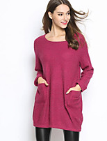 Women's Casual/Daily Long Pullover,Solid Round Neck Long Sleeve Others Spring Fall Medium Stretchy