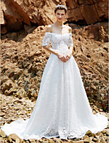 2017 A-line Wedding Dress - Chic & Modern See-Through Chapel Train Off-the-shoulder Lace with Lace