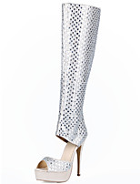 Boots Cowhide Spring Summer Fall Winter Walking Crystal Sparkling Glitter Zipper Stiletto Heel Sliver 3in-3 3/4in