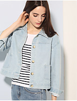 Veste en jean Femme,Couleur Pleine Quotidien Contemporain Toutes Saisons Manches longues Col de Chemise Normal Coton
