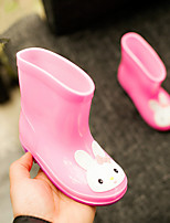 Girls' Boots Comfort Rubber Spring Summer Casual Rain Boots Flat Heel Yellow Green Blushing Pink 1in-1 3/4in