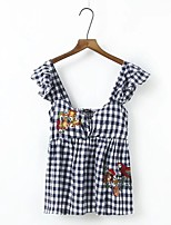 Tee-shirt Femme,Tartan Sortie Décontracté / Quotidien Sexy simple Chic de Rue Eté Sans Manches Col en V Coton Fin Moyen