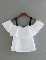 Tee-shirt Femme,Couleur Pleine Sexy simple Chic de Rue Eté Sans Manches A Bretelles Coton Fin Moyen