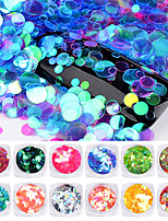 12Box Round Aurora Nail Sequins Mix Sizes Ultra-thin Shiny Chameleon Unicorn Nail Glitters Art DIY Manicure Nail Decorations