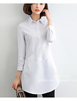 Women's Casual/Daily Simple Spring Shirt,Solid Shirt Collar Long Sleeve Cotton Thin