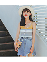 Women's Casual/Daily Simple Regular Vest,Striped Round Neck Sleeveless Cotton Summer Thin Micro-elastic