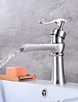 Centerset Waterfall with  Ceramic Valve Single Handle One Hole for  Brushed , Bathroom Sink Faucet