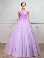 Formal Evening Dress - Open Back Sexy Elegant Ball Gown Scoop Floor-length Tulle with Beading Lace