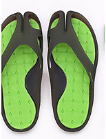 Men's Slippers & Flip-Flops Comfort PU Rubber Spring Casual Comfort White/Green Black/Green Pink/White Flat