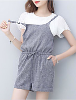 Women's Going out Casual/Daily Simple Street chic T-shirt Dress Suits,Solid Strap Short Sleeve strenchy