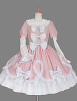 One-Piece/Dress Sweet Lolita Classic/Traditional Lolita Lace-up Princess Cosplay Lolita Dress Fashion Solid Color Cap Short SleeveShort /