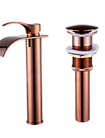 ContemporaryCeramic Valve Single Handle One Hole for  Rose Gold