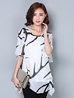 Women's Going out Casual/Daily Simple Summer Blouse,Solid V Neck Short Sleeve Polyester Medium