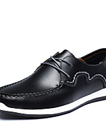 Men's Oxfords Comfort Leather Spring Summer Office & Career Party & Evening Casual Lace-up Flat Heel Khaki Brown Black Flat