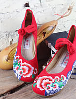 Women's Wedding Shoes Comfort Linen Fabric Spring Casual Red Black Flat