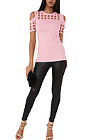 Women's Sports Street chic T-shirt,Solid Round Neck Short Sleeve Acrylic