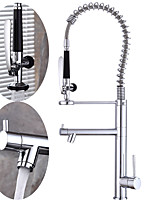 Art Deco/Retro Tall/High Arc Centerset Widespread Rotatable with  Ceramic Valve Single Handle One Hole for  Chrome , Kitchen faucet