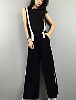 Women's Casual/Daily Simple Summer T-shirt Pant Suits,Plaid Round Neck Sleeveless