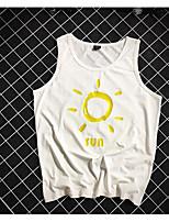 Women's Daily Vintage Summer Tank Top,Solid Strap Short Sleeve Cotton Medium