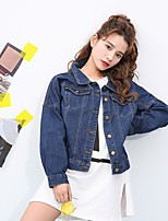 Women's Casual/Daily Active Spring Denim Jacket,Solid Stand Long Sleeve Regular Cotton