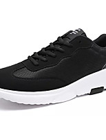 Men's Athletic Shoes Comfort Tulle Spring Fall Athletic Outdoor Walking Comfort Lace-up Flat Heel Black/White Black/Red Flat
