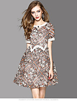 OYCP Women's Casual/Daily Sheath Dress,Print Round Neck Above Knee Short Sleeve Polyester Summer High Rise Micro-elastic Thin