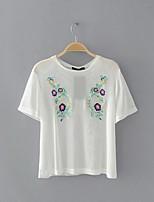 Tee-shirt Femme,Broderie Sortie Décontracté / Quotidien Sexy simple Chic de Rue Eté Manches Courtes Col Arrondi Coton Fin Moyen