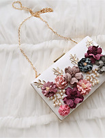Women Evening Bag PU All Seasons Event/Party Party & Evening Date Baguette Flower Magnetic Apricot Peachblow Blushing Pink Red Black