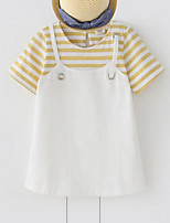Girl's Stripe Patchwork Dress,Rayon Summer Short Sleeve
