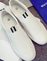 Men's Loafers & Slip-Ons Comfort Real Leather Tulle Spring Casual Comfort White Flat