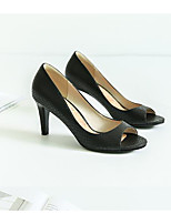 Women's Heels Comfort PU Summer Casual Comfort Gray Black 1in-1 3/4in