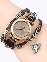Top Women Premium Genuine Leather Watch Triple Bracelet Watch Elephant Charm Wristwatch Fashion Para Femme