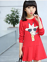 Girl's Solid Color Dress,Cotton Summer Spring Fall Long Sleeve