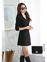 Women's Casual/Daily Street chic Fall Winter Vest,Solid Shawl Lapel Long Sleeve Long Cotton