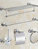 Contemporary Antique Brass 5pcs Bathroom Accessory Set Towel Shelf Towel Bar Paper Holder Brush and Holder
