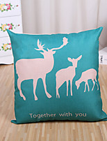 1 Pcs Together With You Blue Deer Pattern Pillow Cover Square Cotton/Linen Pillow Case Cushion Cover