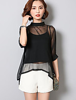 Women's Casual/Daily Simple Blouse,Solid Crew Neck ½ Length Sleeve Polyester