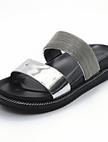Women's Flats Slingback Leatherette Summer Outdoor Dress Casual Walking Flat Heel Green Sliver Black White 1in-1 3/4in