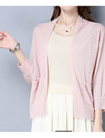 Women's Going out Casual/Daily Formal Cute Sophisticated Regular Cardigan,Solid Round Neck Long Sleeve Linen Spring Medium Micro-elastic