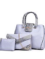 Women Bag Sets PU All Seasons Birthday Casual Date Work Barrel Zipper Gray Red Black White Pool