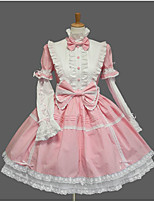 Women's Lolita Dress Cosplay Girl Sweet Lolita Lace-up Princess Cosplay Lolita Dress Fashion  Cap Bell Short Sleeve Short / Mini Tuxedo Legguards